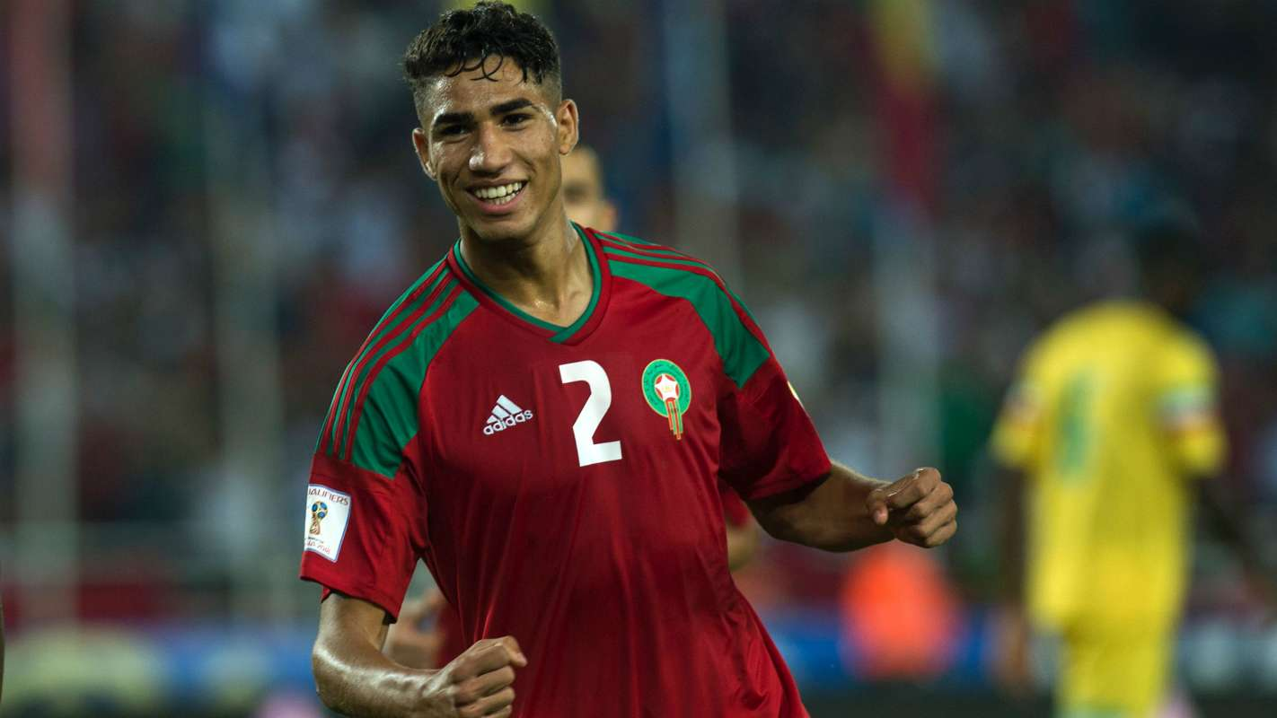 Achraf Hakimi of Morocco plays at Fifa World Cup in Russia, born November 4, 1998