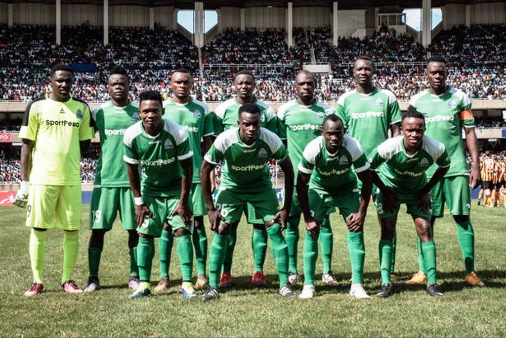 Gor Mahia line-up against Hull City at the Moi International Sports Centre, Kasarani earlier this year. Hull City won 4-3 on post-match penalties after barren draw in regulation time