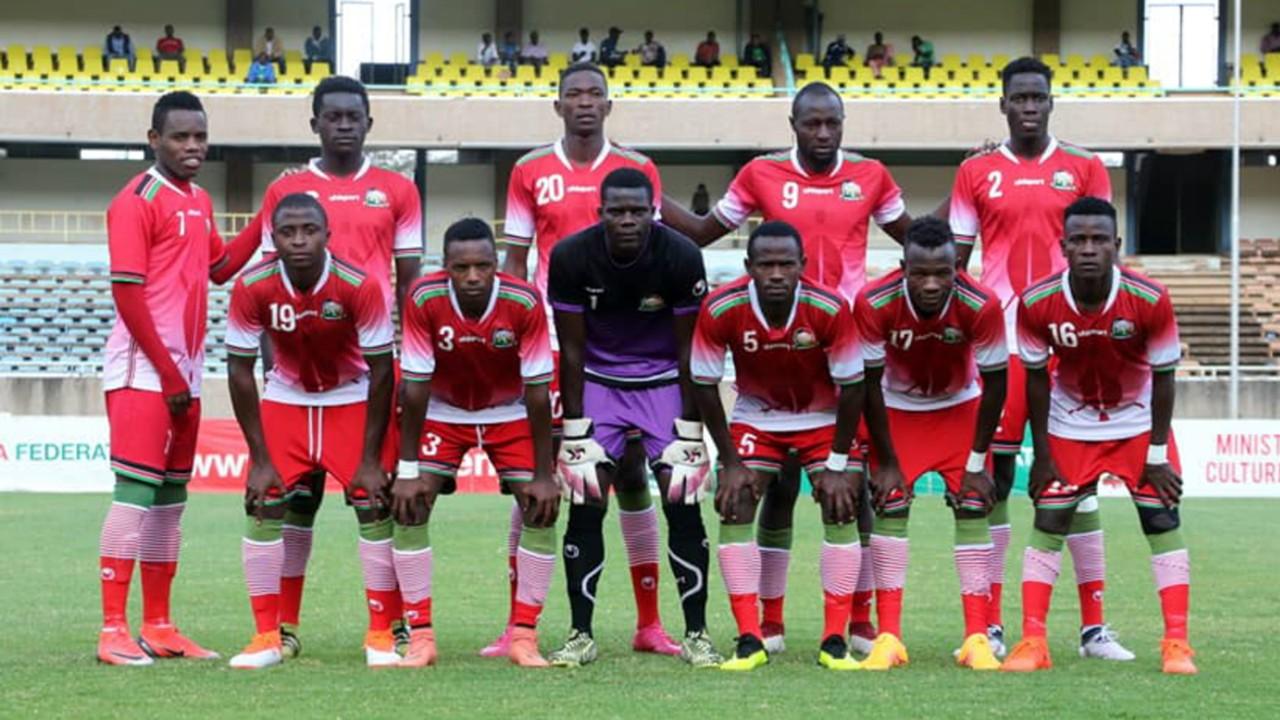 The Kenya U23 football team in current qualifying campaign for the African championship. Above: Ovella Ochieng' of the side and already one of the genuine talents for the full national team Harambee Stars