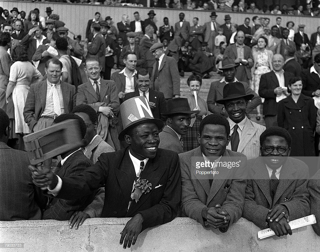 England, 1949, supporters for the Nigeria football team enjoying watch them play in England one their first ever tour