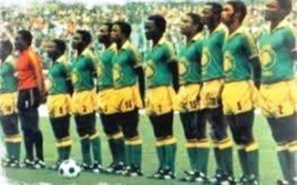 Pierre Ndaye Mulamba's Zaire team before a match