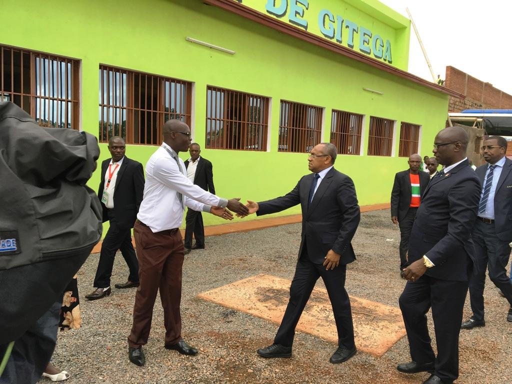 CAF President Ahmad (centre) is welcomed by Gitega Governor --- for the final of the Cecafa 2017 U17 Championship at Stade de Gitega, Burundi
