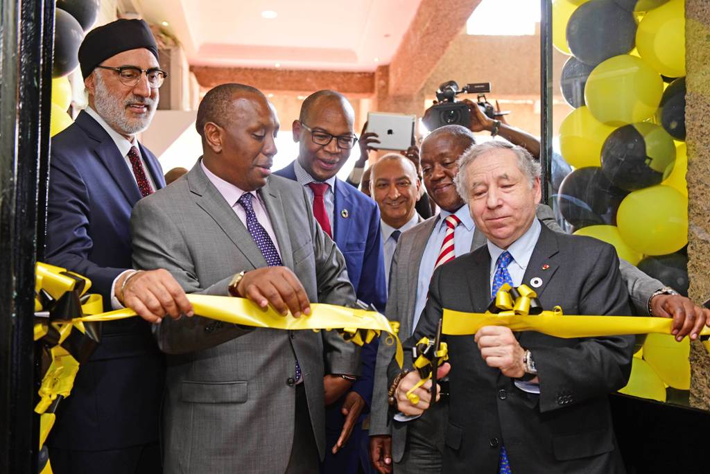 Jean Todt (right) commissions Kenya's WRC Safari Rally Project offices at the Moi International Sports Center, Kasarani in Nairobi. He is flanked by, from left; Jaswant Singh Rai a Kenya Motor Sports Foundation (KMSF) chairman, Peter Kaberia the Kenya Government Principal Secretary in the Ministry of Sports, Joshua Oigara head of Kenya Commercial Bank, Surinder Thathi of KMSF and FIA and KMSF chairman Phineas Kimathi