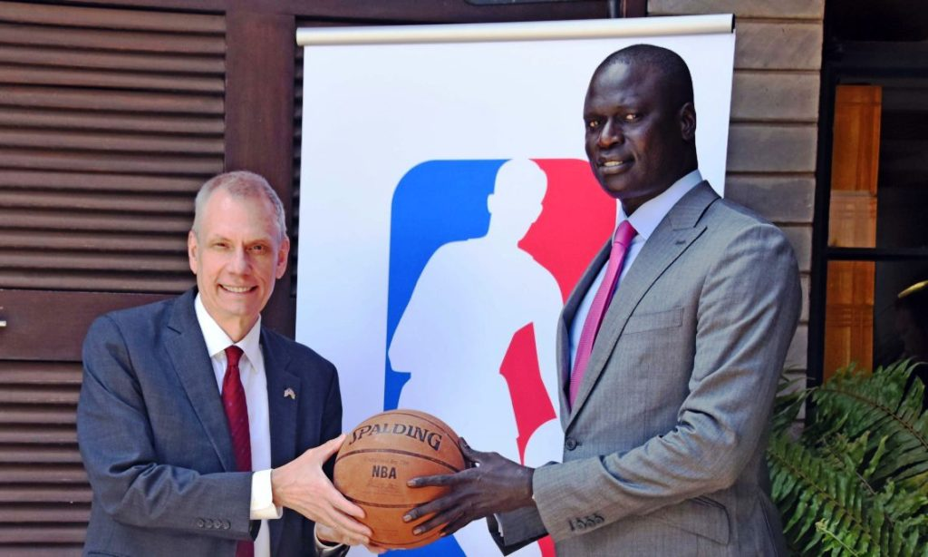 Recent US ambassador to Kenya Bob Godec (left) and NBA Vice President and Managing Director for Africa, Amadou Gallo Fall Launch an NBA supported junior programme for Kenya in Nairobi