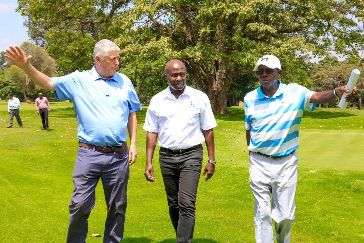 European Tour tournament director Paul Carrigill (left) inspects the Karen Country Club course with Kenya Open Golf Limited's Patrick Obath (middle) and Peter Kanyago