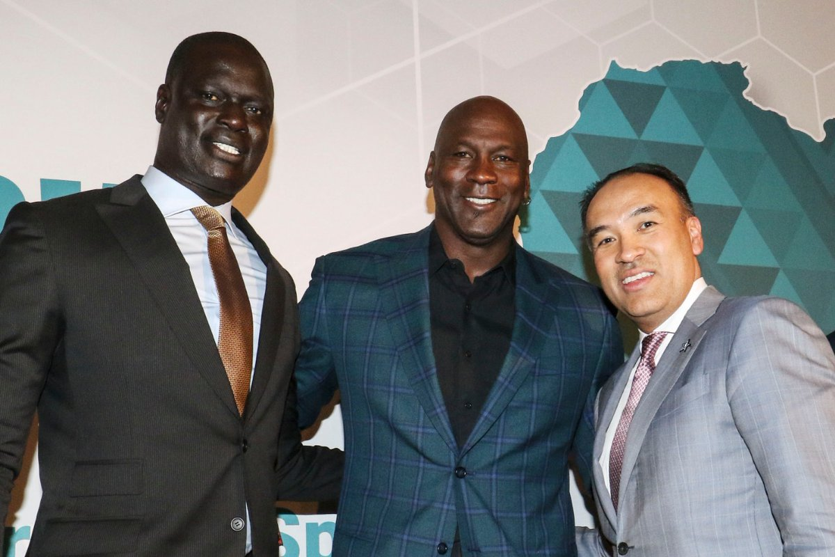 The NBA Vice-President and Managing Director for Africa, Amadou Gallo Fall (left), Hornets chairman Michael Jordan and NBA Deputy Commissioner Mark Tatum at the announcement of the Basketball Africa League at the annual NBA Allstar Africa luncheon in Africa Luncheon in Charlotte, North Carolina on February 16