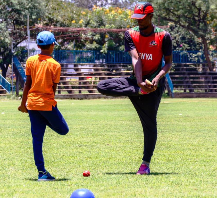 Coaching youngsters at Nairobi Gymkhana ground