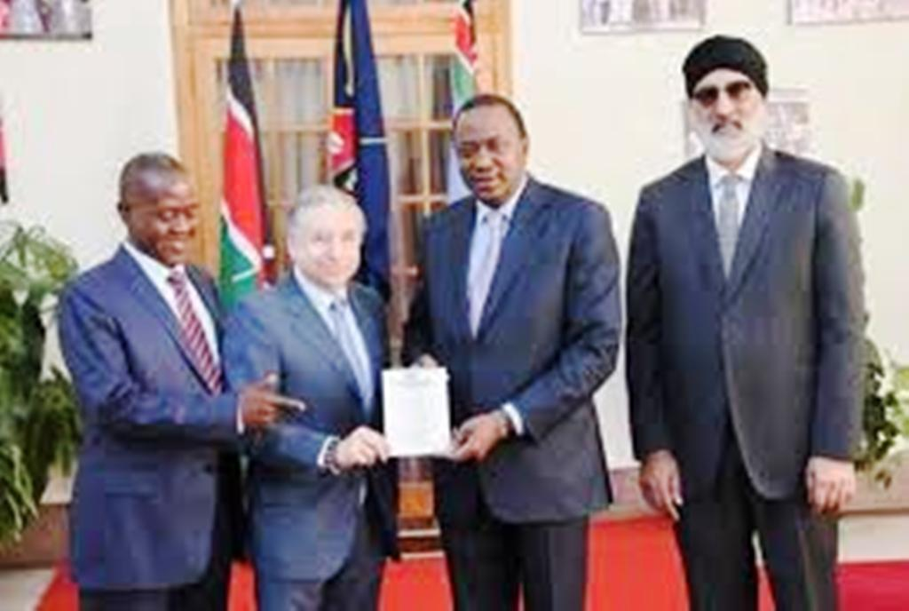They made commitments to FIA President Jean Todt (second from left) to work on getting the Safari Rally back on the World Rally Championship (WRC) calendar, President Uhuru Kenyatta (second from right), Jaswant Rai (right) and Phineas Kimathi, the Kenya Motor Sports Foundation (KMSF) chairman