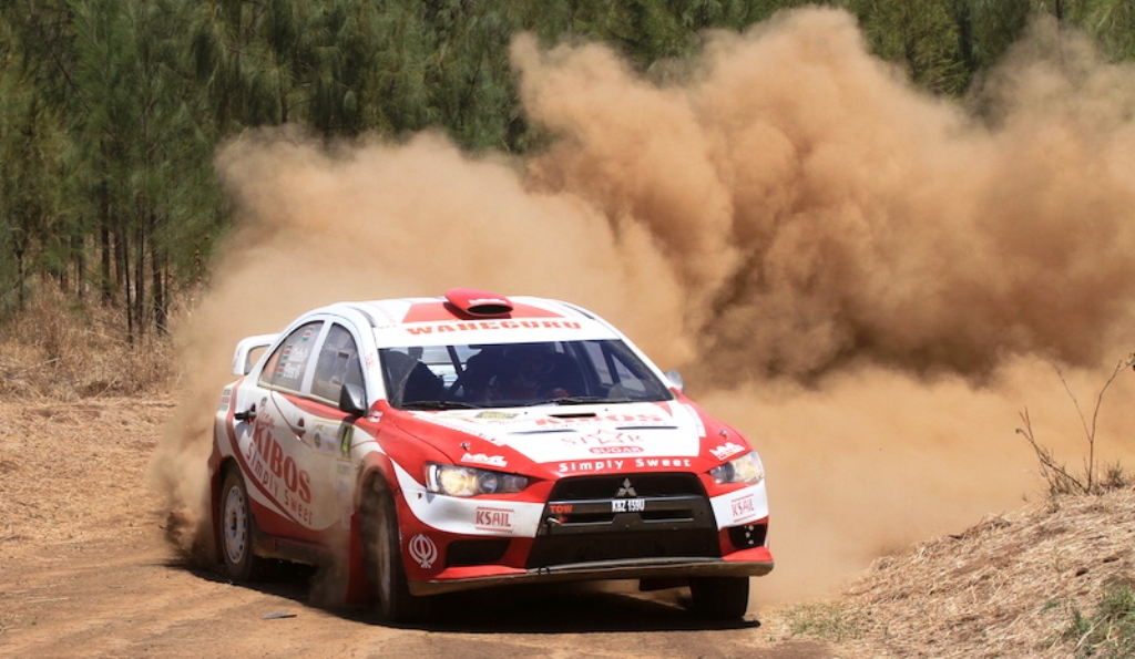 Jas Chathe under a hail of dust in Kenya National Rally Championship event