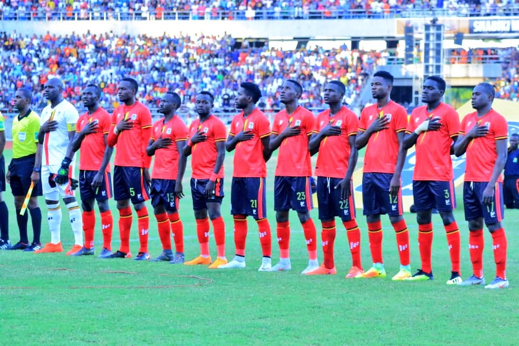 Uganda Cranes line up against Taifa Stars at National Stadium, Dar es Salaam Sunday. Egypt-bound by this time thrashed 3-0 by Tanzania