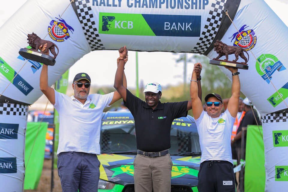 Baldev Chager (left) and Ravi Soni (right) at presentation following KNRC Kajiado Rally triumph on Sunday