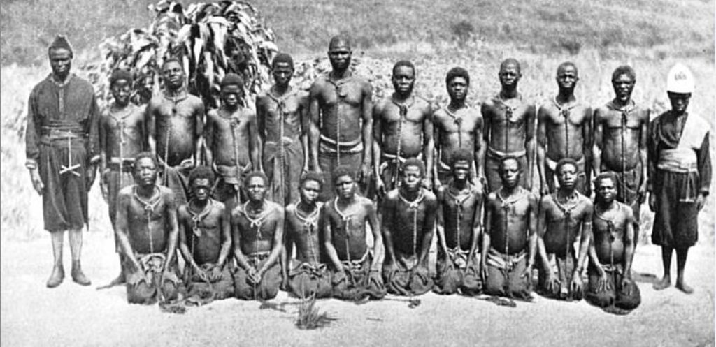 Slave labour in rubber plantation of King Leopold II Belgian Congo