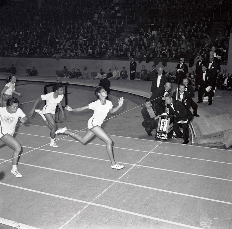 American sprinter Wilma Rudolph winning a 50-yard sprint at Madison Square Garden in 1961. TOP: Wilma Rudolph during competition at the 1960 Rome Olympics