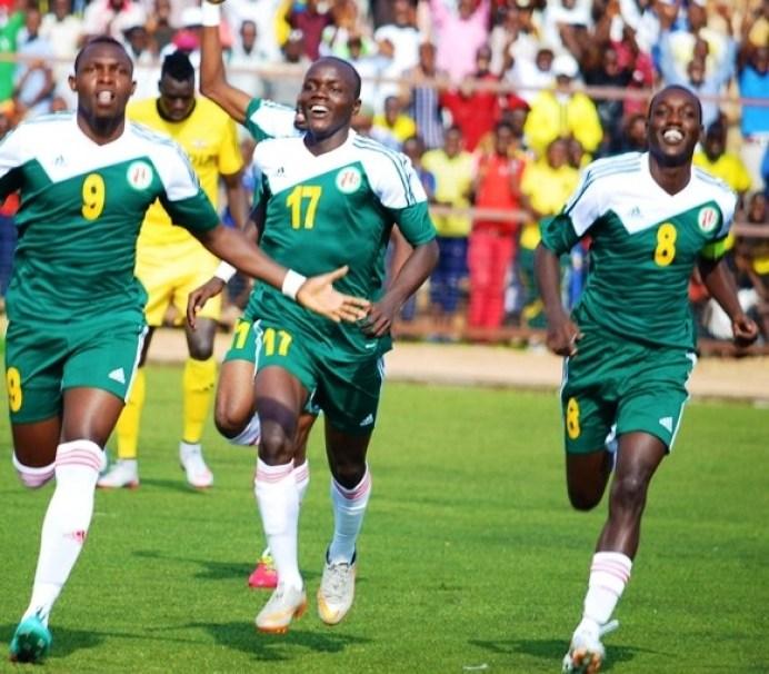 Gael Duhayindavyi (No. 8) celebrates with teammates during one of Burundi qualification matches