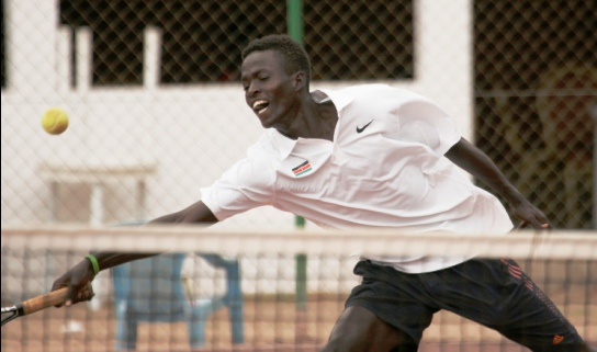 Kevin Cheruiyot, one of the better Team Kenya performers in tennis in Brazzaville. He made the third round of the men's singles, going out after he had reached a match point at some stage. Photo/Courtesy MOHAMMED AMIN/Team Kenya