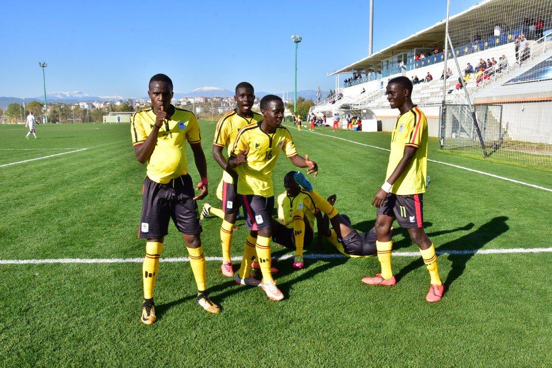 Uganda during the UEFA Assist U17 tournament in Turkey. Top: Tanzania (in blue) take on Guinea in a match lost 0-1 in Turkey