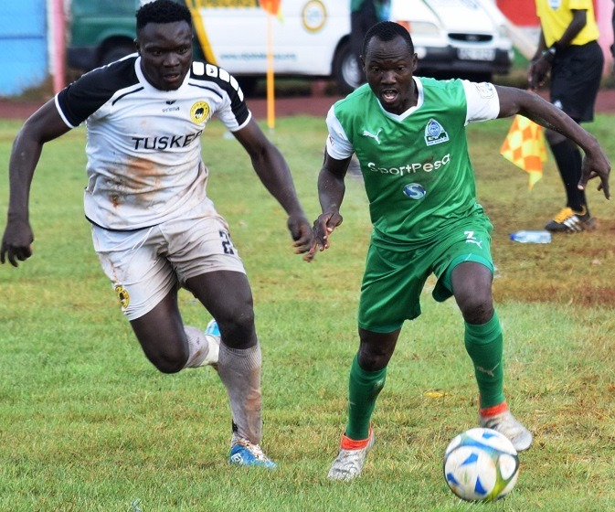 Godfrey Walusimbi (right) in his Kenyan Premier League days takes on Tusker. The Uganda Cranes player currently without a club has been called to the 2019 AFCON squad