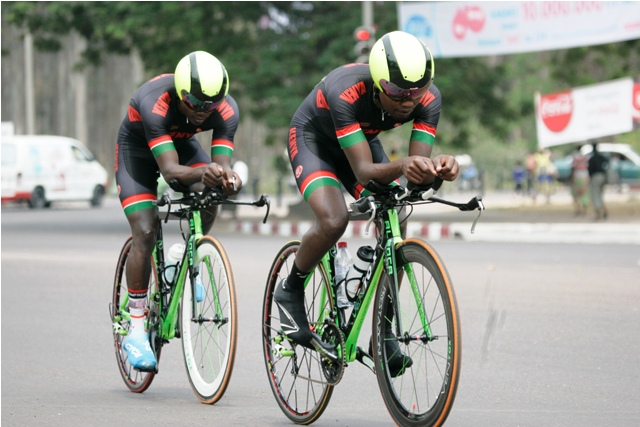 The Kenya cycling team of Suleiman Kangangi and Ayub Kathurima cool down after a stormy run through Brazzaville streets in the individual time trials at the 11th African Games cycling action. Photo/Courtesy MOHAMMED AMIN/Team Kenya media.