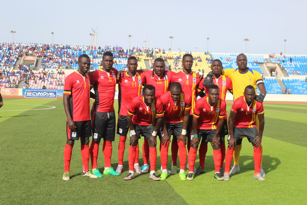 Uganda Cranes line up before a recent match in Cape Verde. Top: Emmanuel Okwi of Simba, Tanzania, who is in the Cranes squad for forthcoming AFCON action leads celebration after a Uganda scores at Nelson Mandela National Stadium, Kampala