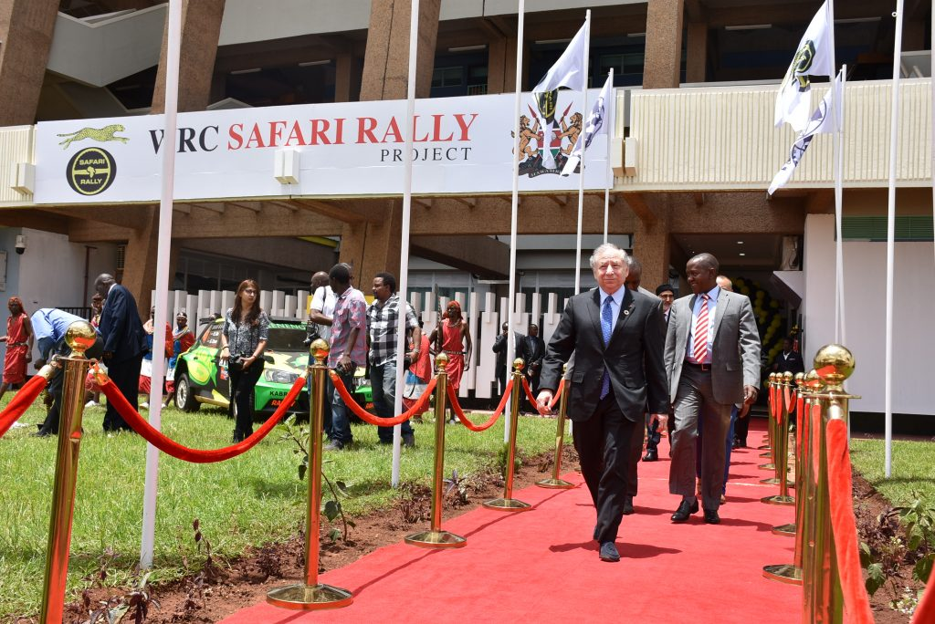 At the WRC Safari Rally Project headquarters in Nairobi's northern suburbs, FIA President Jean Todt (left) and KMSF President Phineas Kimathi