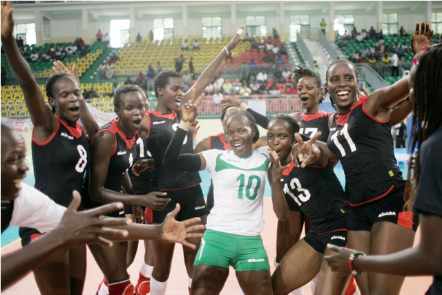Sheer joy: Jubilant Kenya players after beating Cameroon in Brazzaville to win the women's volleyball Gold for the first time in the African Games since Johannesburg in 1999. Photo/Courtesy MOHAMMED AMIN/Team Kenya