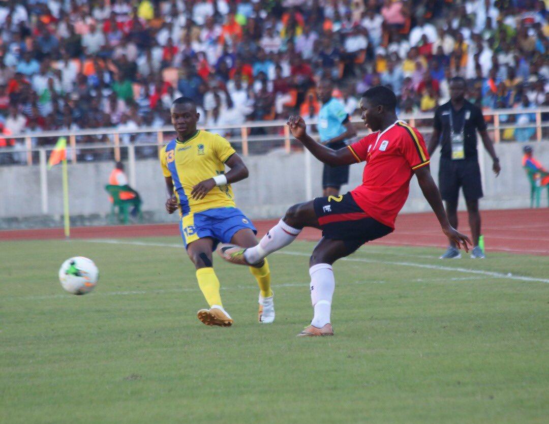 Uganda (right) shoot past Tanzania at the National Stadium on Wednesday