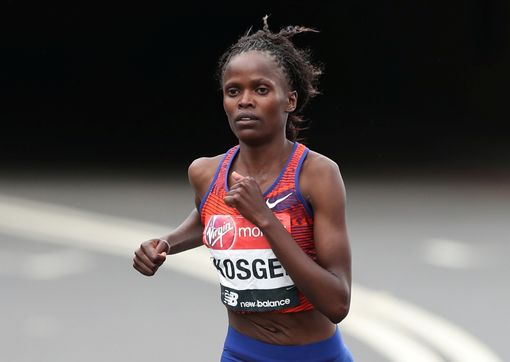 Brigid Koskei, above and below, wins in London ... Vivian Cheruiyot, Gladys Cherono and Mary Keitany were in the top 10
