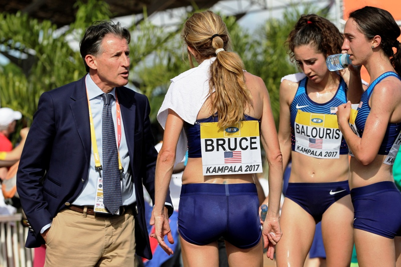 Seb Coe (left) with USA runners at the world championships in Kampala, Uganda in 2017. In taking IAAF Presidency in 2015, he said athletics' full potential, commercially and spectator appeal ought to be realised. He has promised changes