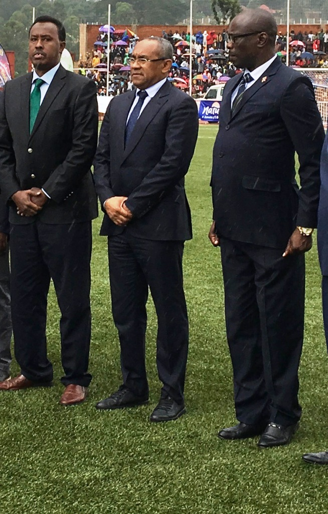 Ahmad Ahmad (centre) the CAF President presides in a U17 tournament final in Gitega, Burundi