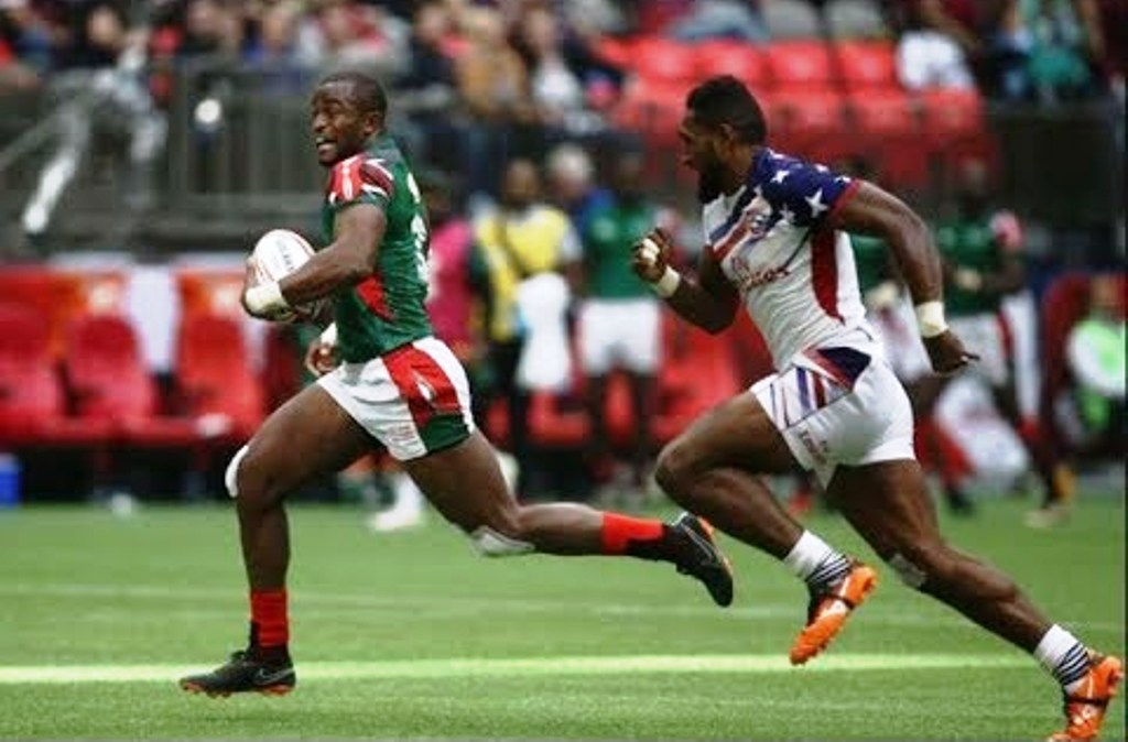 Willy Ambaka races away from USA during last season's Vancouver Sevens where Kenya reached the Final