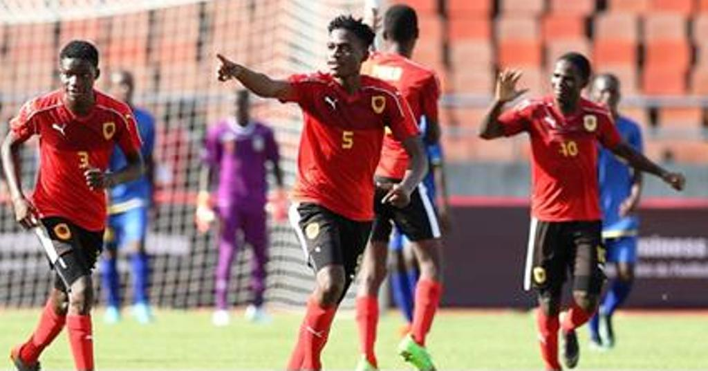 André Sebastiao 'Zito' Luvumbo (No. 10) one of Angola's most valuable players celebrates a goal with teammates Antonio Jose (3) and Telson Tome