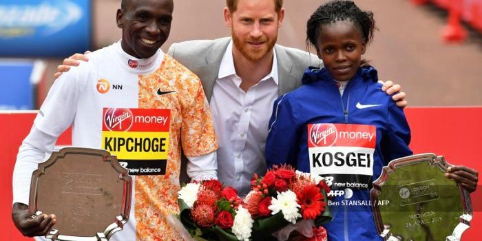 Prince Harry with the triumphant Kenyans