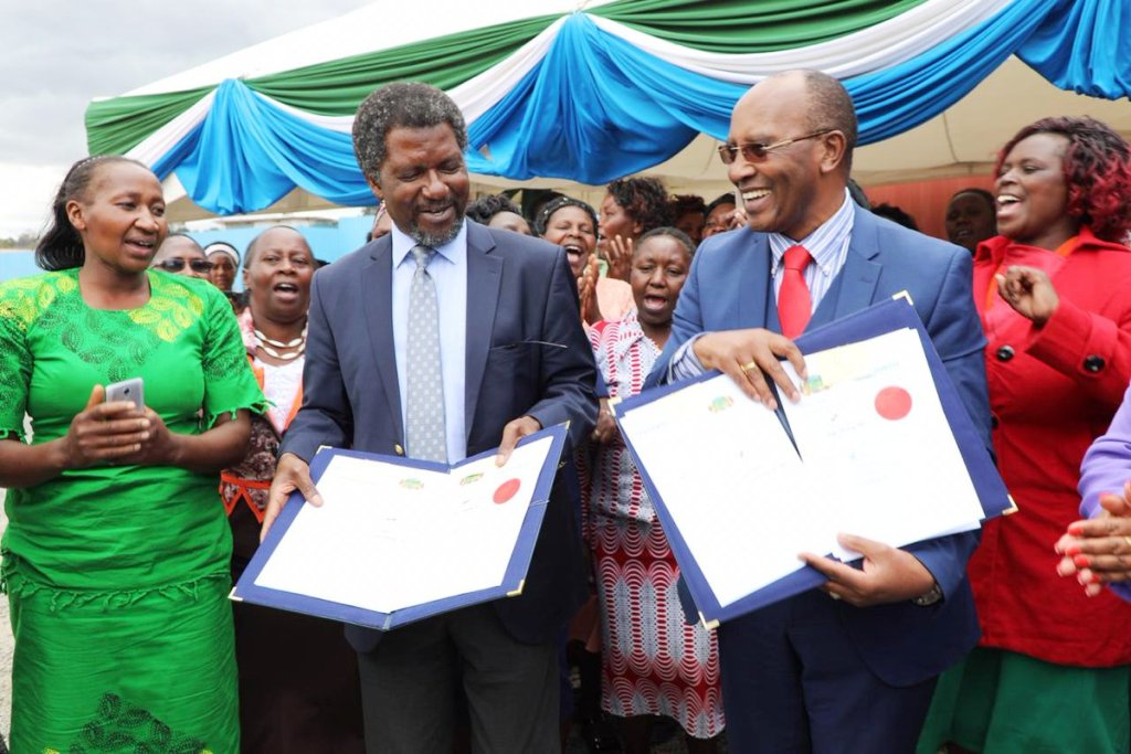 Some Governors whose counties, if they worked on being tourist friendly would attract many visitors: Above, Nyandarua's Francis Kimemia (right) while co-operation agreement with UNHABITAT for development. Below, Murang'a's Mwangi wa Iria whose county already has new attractive holiday resorts