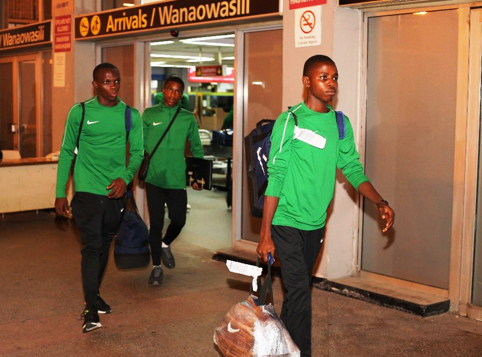 From above, to bottom, teams arrive at the Julius Nyerere International Airport, Dar es Salaam for the 2019 AFCON U17 tournament: Nigeria, Angola and Guinea