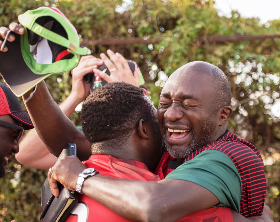 Former Kenya international Paul Odera (right) celebrates with his team after the final whistle at KCB ground, Nairobi ... a 2019 World Rugby Under 20 Trophy tournament awaits in Brazil