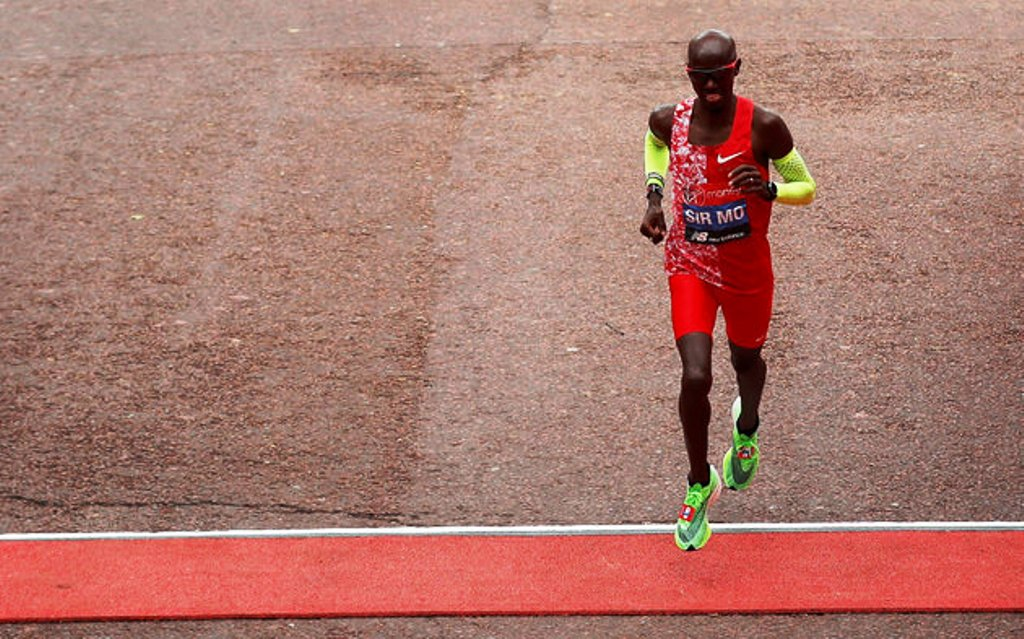 The forlon figure of Sir Mo Farah crossing the line in London in fifth place