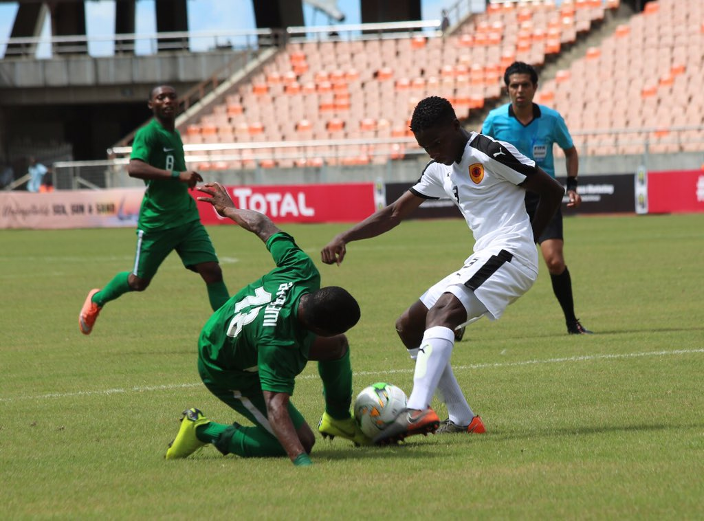 Nigeria (left) beat Angola on Wednesday in Dar es Salaam and are on to the U17 FIFA World they have previously won five times