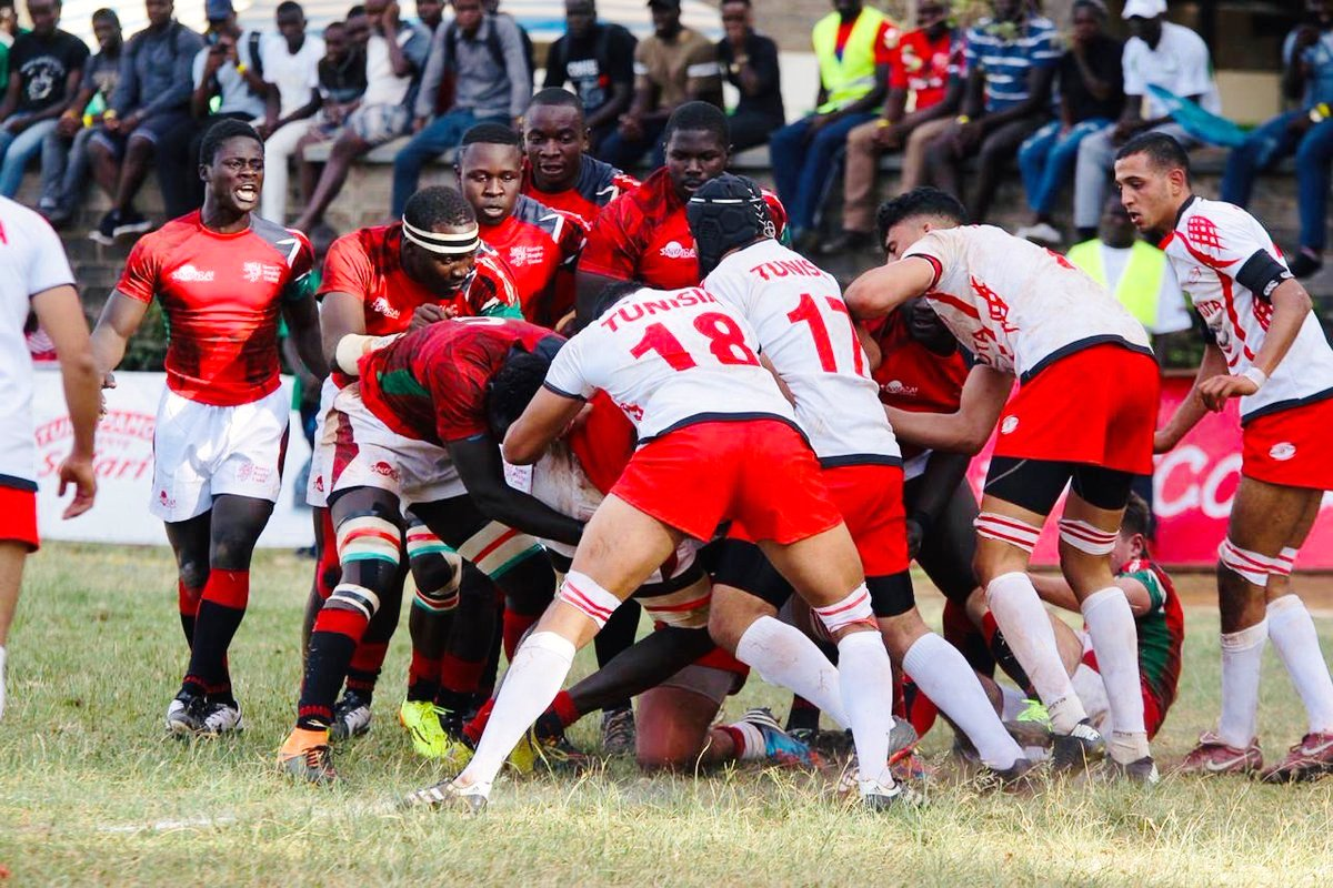 Kenya (left) defend against Tunisia in the Barthes Cup 2019 semi-final match at KCB ground against Tunisia. Kenya won