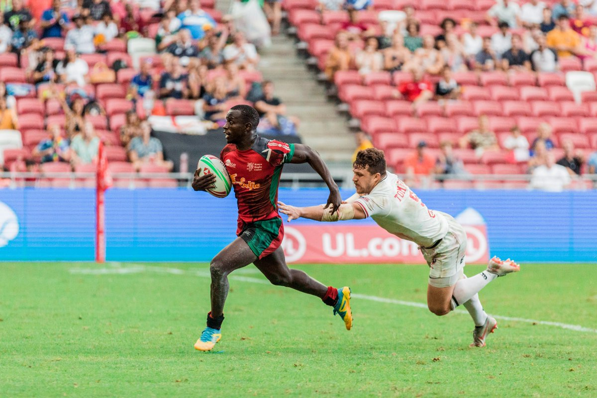 Some the newer Kenya Sevens players this weekend in their losing effort against USA at the Singapore Sevens