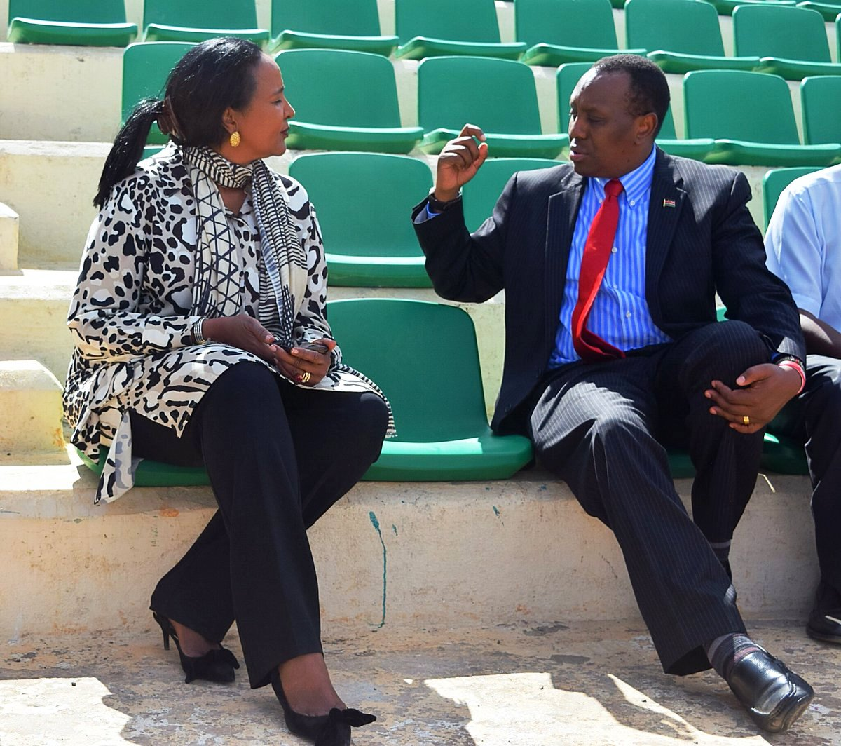 Amina Mohammed (left), Cabinet Secretary of Sports with Principal Secretary Peter Karimi in a recent function at Nyayo National Stadium … Government has ask KRU to put off elections tofirst seek co-operation of stakeholders and the corporate world