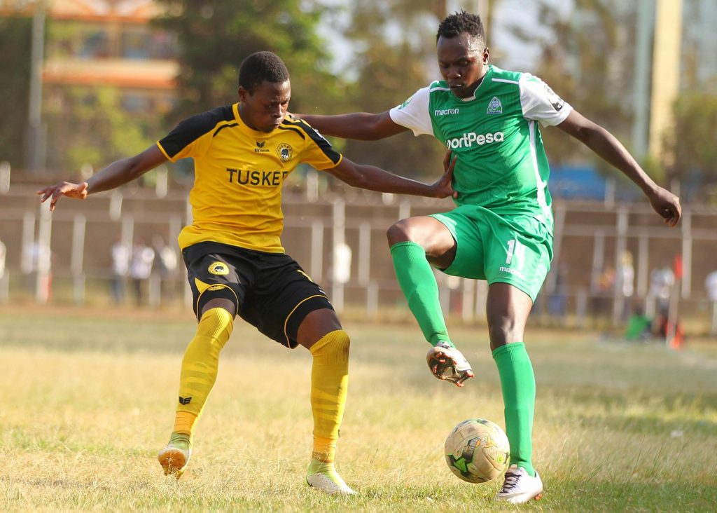 Playing at empty, poor grounds generating no income is the everyday thing even for big clubs such as Tusker (left) and multi-time champions Gor Mahia