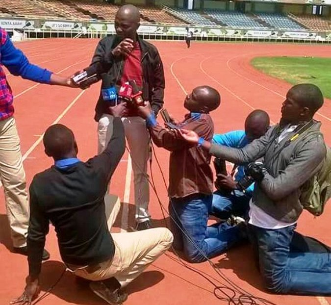 Football Kenya Federation head Nicholas Mwendwa, centre, holding Press conference at Moi International Sports Centre overseeing commercially unviable football in the country