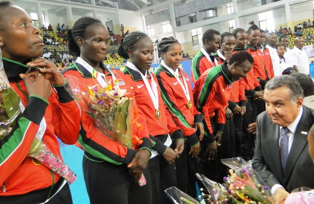 Winners' rostrum ... with the top Kenyan players involved in the World Cup, Kenya sent a second-string side to Congo Brazzaville for the 11th African Games women's tournament which the girls won 3-1 over Cameroon in the Final