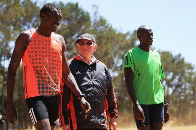 Coaching living legend Bro Colm O'Connell (centre) with one of his proteges nurtured at Iten, double Olympic champion David Rudisha (left)