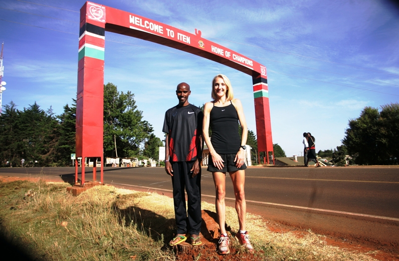 Mo Farah and Paula Radcliffe outside Iten Town when the Great Britain team set camp there ahead of the London Olympic Games in 2012
