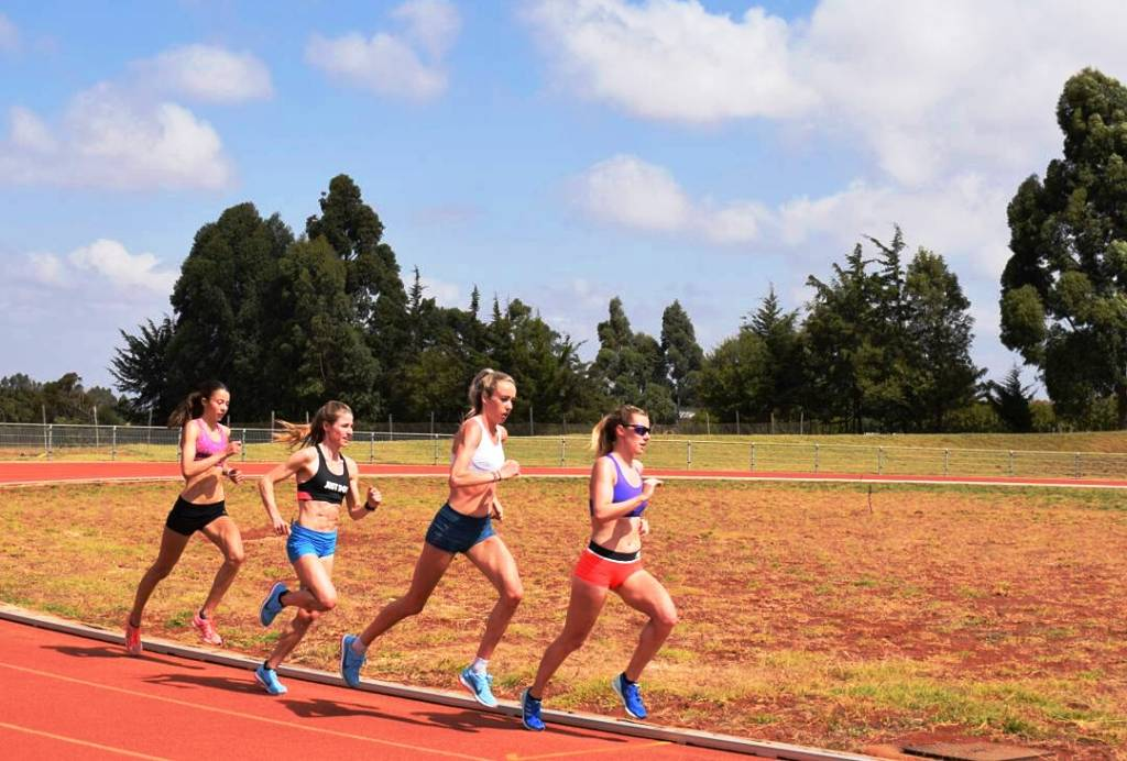 On the running track at Lornah Kiplagat's Sports Academy, Iten