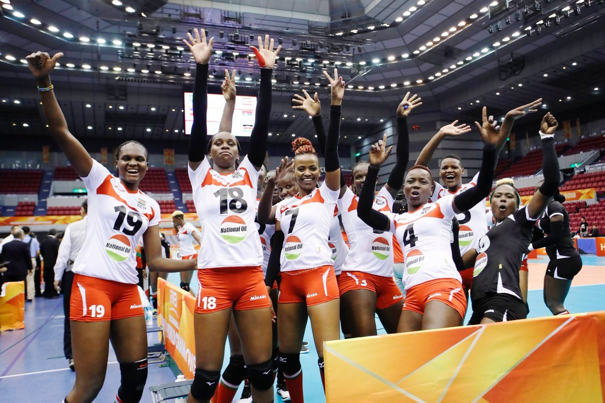 Top: Kenya national women's volleyball team celebrates a point in a past tournament. Above: At the World Cup, Kenya jubilant at beating Kazakhstan, the first ever win in the championship
