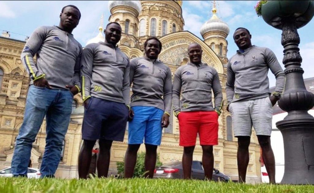 Around the sights in Petersburg for Samurai Kenyans, from left; Billy 'The Kid' Odhiambo, Michael Agevi, Oscar Ouma, Felix Ayange, Collins Injera