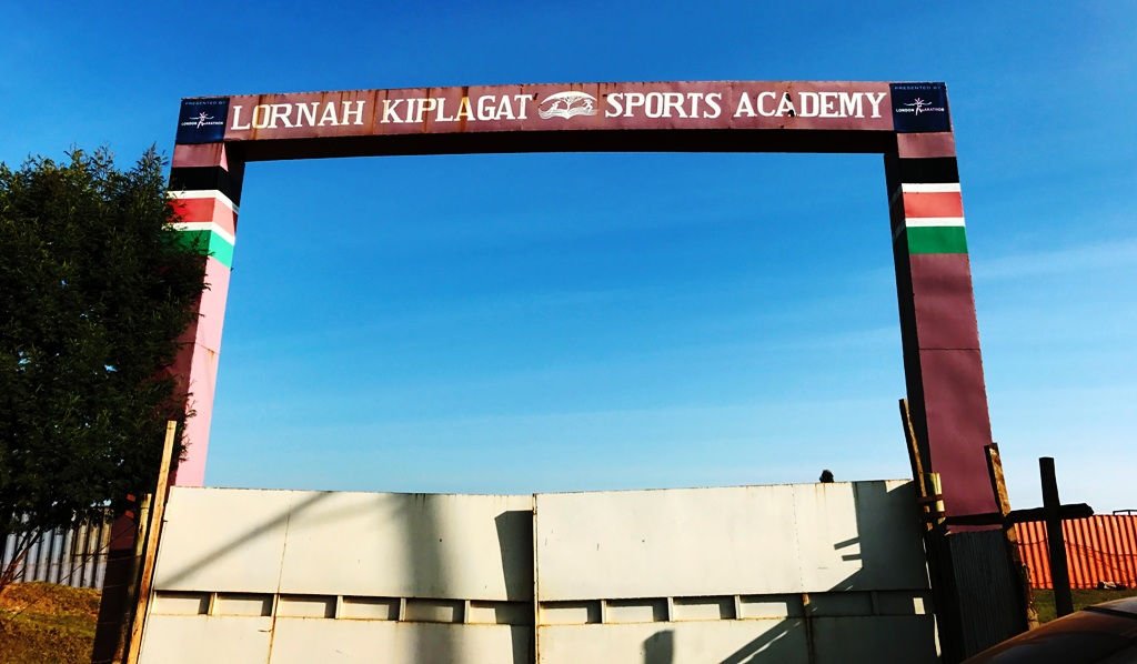Entrance gate to Lornah Kiplagat's Sports Academy all-weather running track half a mile from her high altitude training camp in Iten