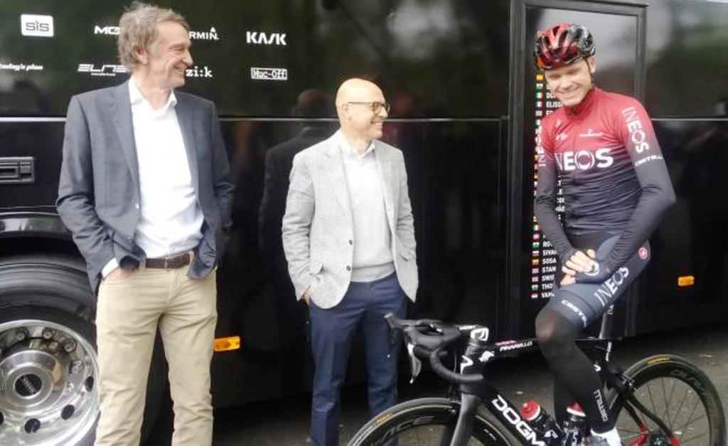 TOP: Chris Froome (centre) at the launch of Team Ineos. Above, Froome (right) with Jim Ratcliffe and Dave Braisfold